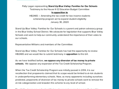 Stand Up Blue Valley testifies in opposition to publicly-funded private school scholarships