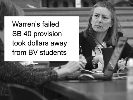 Warren's Failed SB 40 Provision Took Dollars Away from BV Students