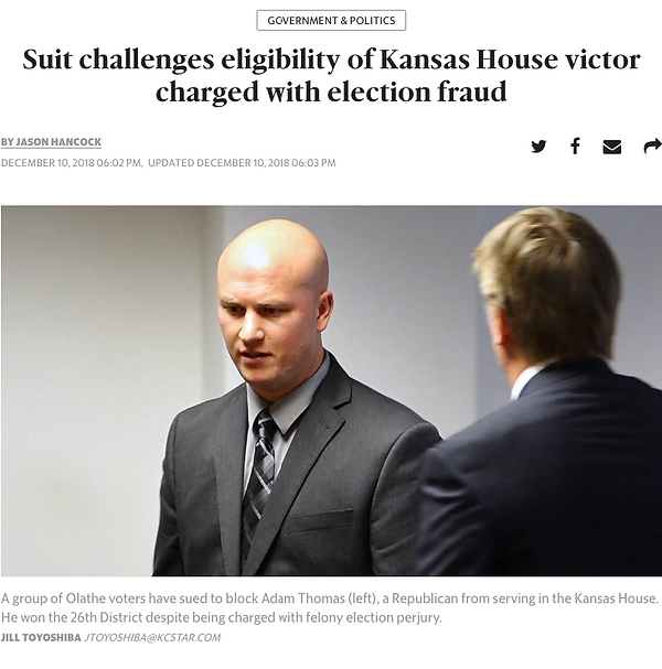 Adam Thomas charged with election fraud_
