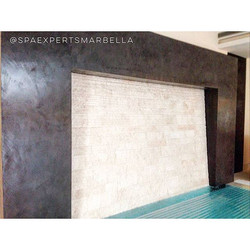 Construction of an indoor swimming pool with safety translucid automatic cover and exclusive backspl