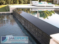 Details_ cascade transition of our overflow swimming pool project, into the compensation channel whi