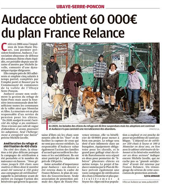 18/05/2021 : Audacce obtient 60000€ du plan France Relance
