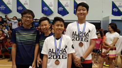 Alpha Academy Age Group Series 2016 (Dec) - Boys Doubles 14 & Under Joint 3rd (L-R: Xavier Eng, Russ