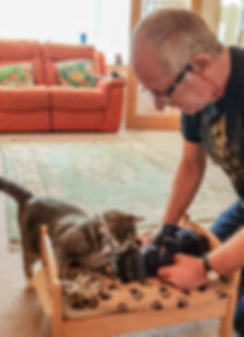 Cat sitter Phil and Crumble practising CPR