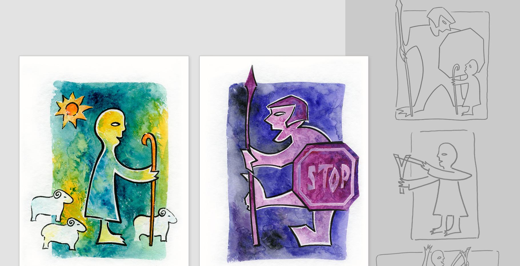 """Broschüren-Illustrationen zum Thema: """"Cocoonig und Postmaterialismus"""" (David und Goliath)"""