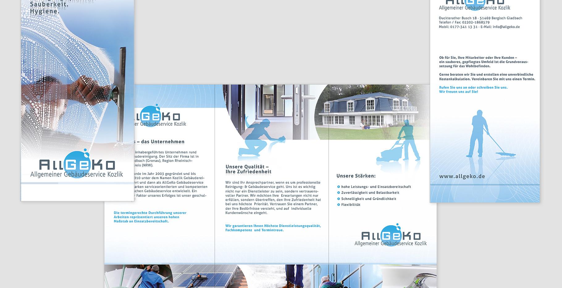 Flyer (6-Seiten Leporello) für Allgeko Gebäudeservice