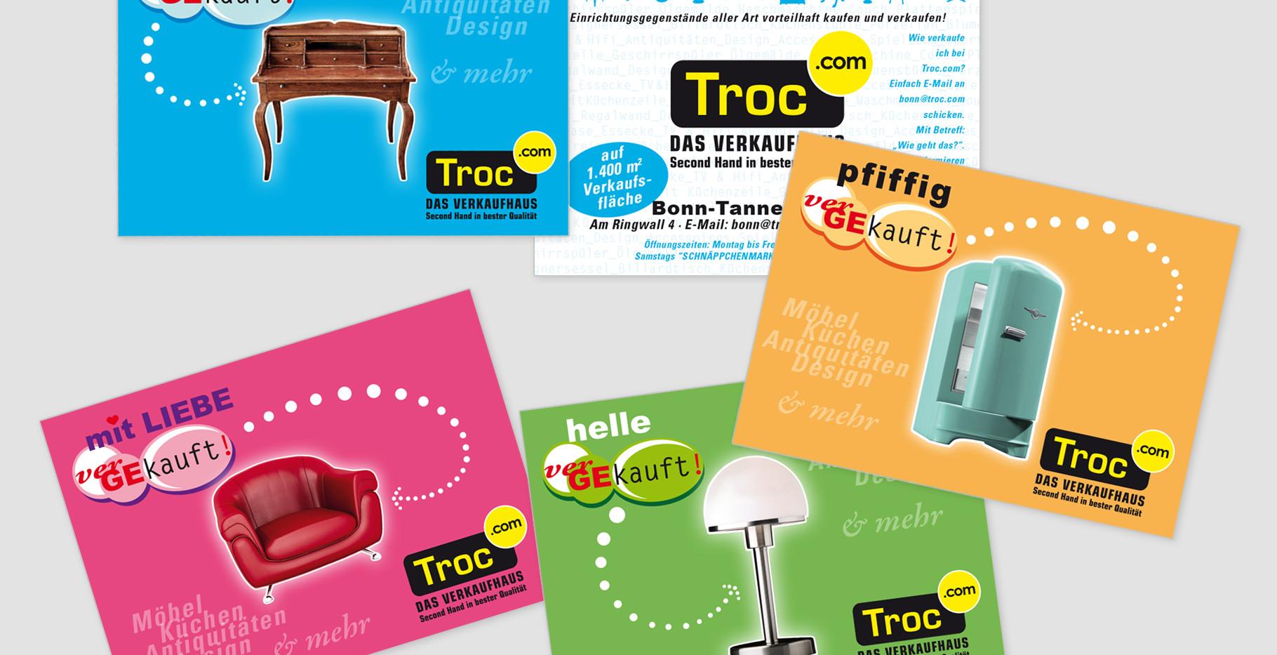 Flyer (Auslegekarten) für Troc Gebrauchtwaren-/Antiquitäten-Verkaufhaus