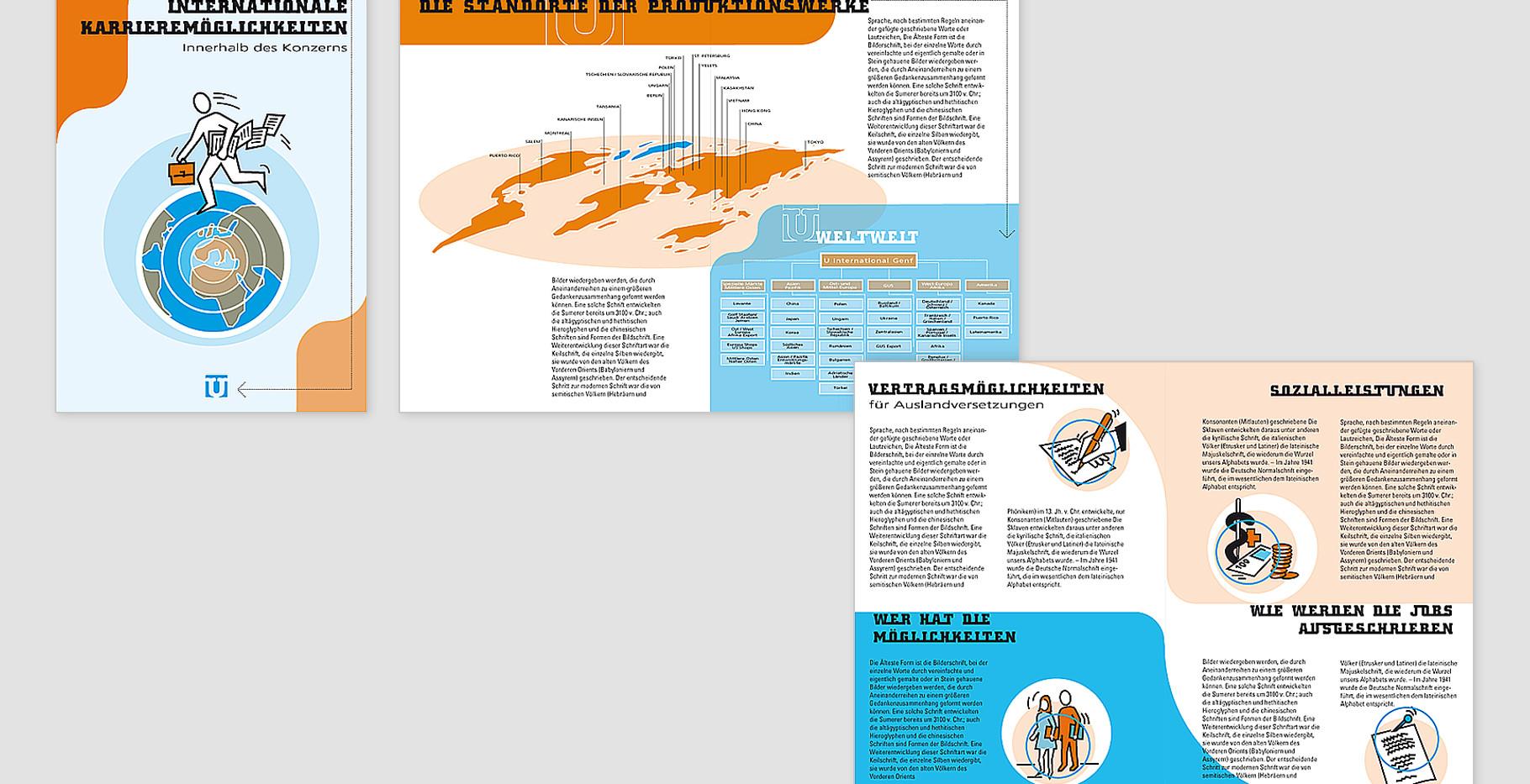 Entwurf eine  Broschüre zum Thema: Internationale Karrieremöglichkeiten