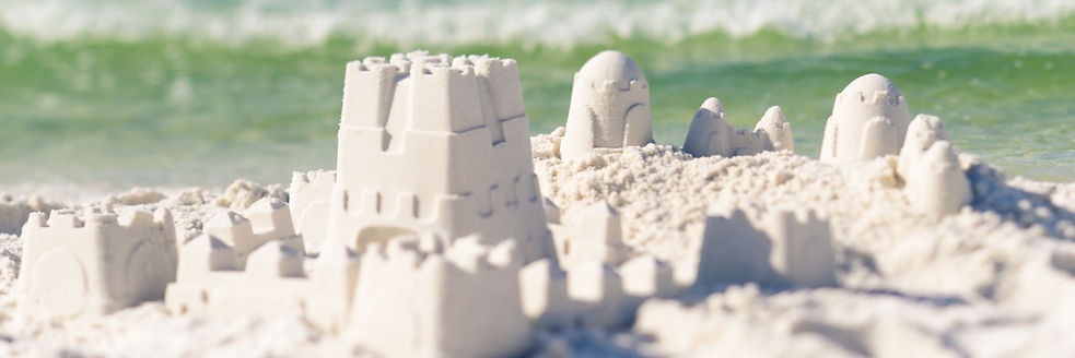 sandcastles made of sugar white sand
