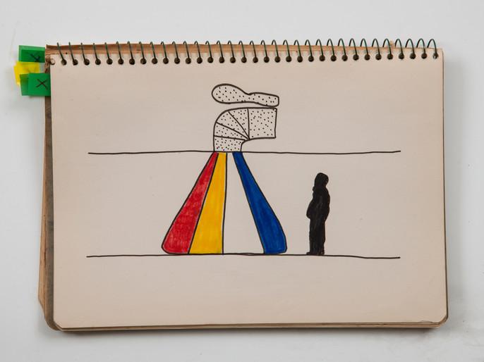 Marcello Nitsche Caderno de desenho, 1970 Papel, caneta hidrográfica, lápis de cor e grafite. 22,7 X 16,2 cm