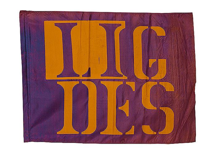 Marcello Nitsche  Bandeira Lig Des, 1968 Serigrafia sobre tecido  80 x 100 cm
