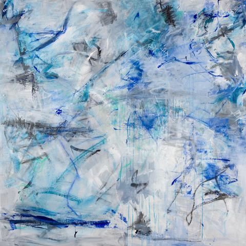Dancing Blue Lines, 48X48