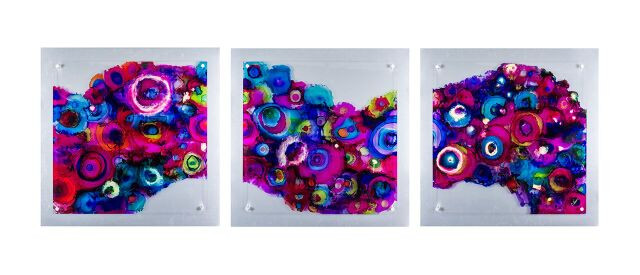 Magenta Waves triptych, Alcohol Ink on Plexiglas