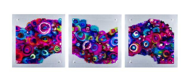 Magenta Waves triptych, Alcohol Ink on Plexiglas