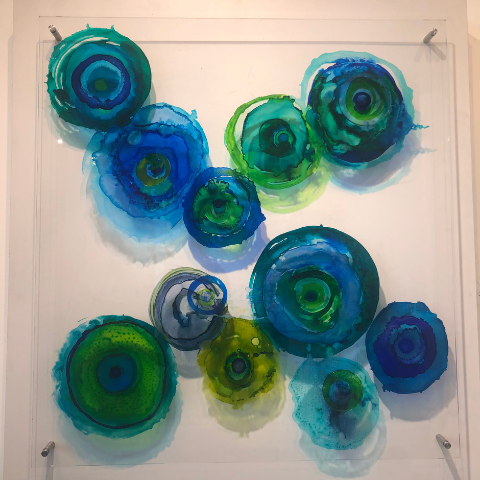 Chihuly Blooms 8, Alcohol Ink on Plexiglas