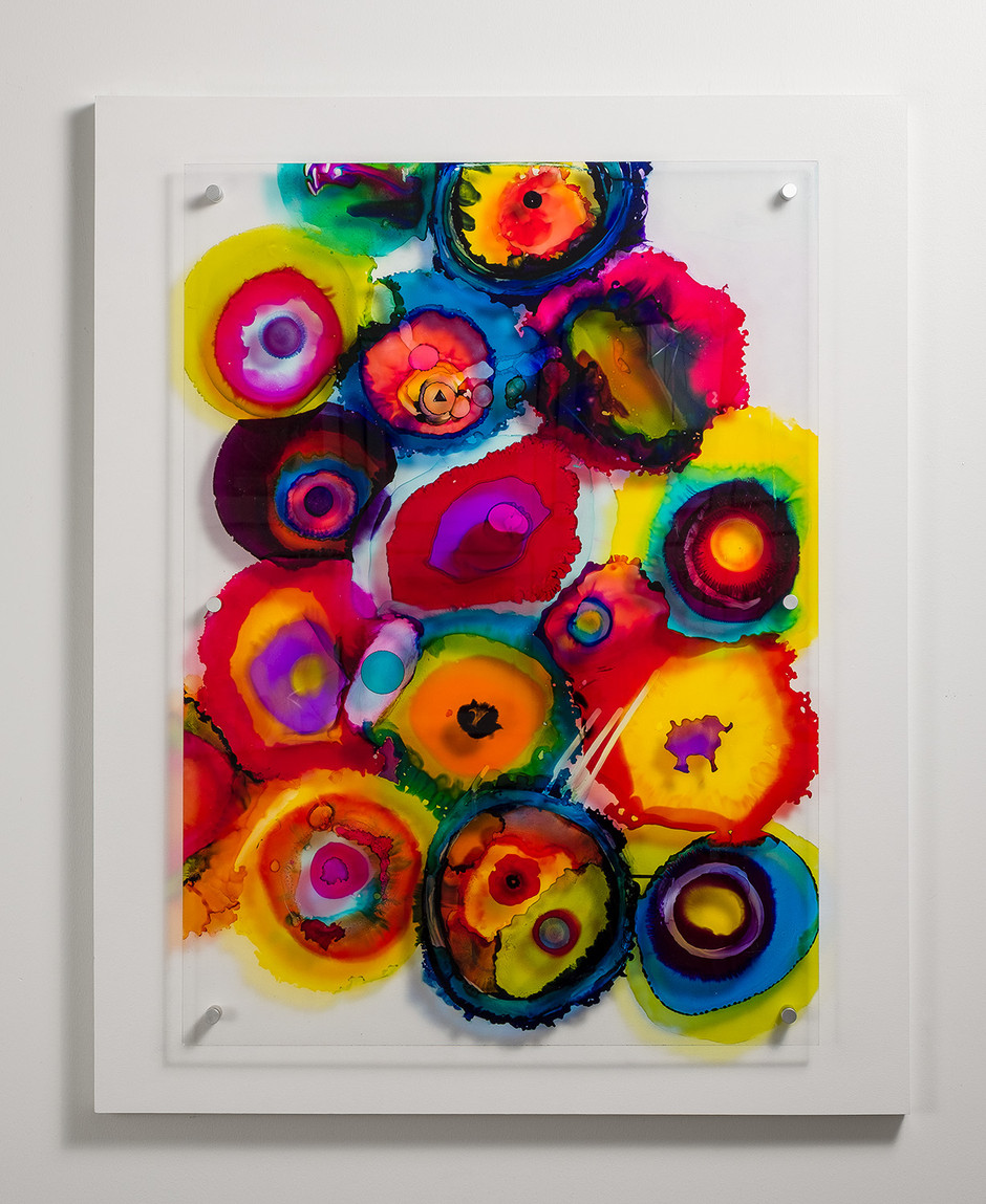 Circles of Happiness, Alcohol Ink on Plexiglas