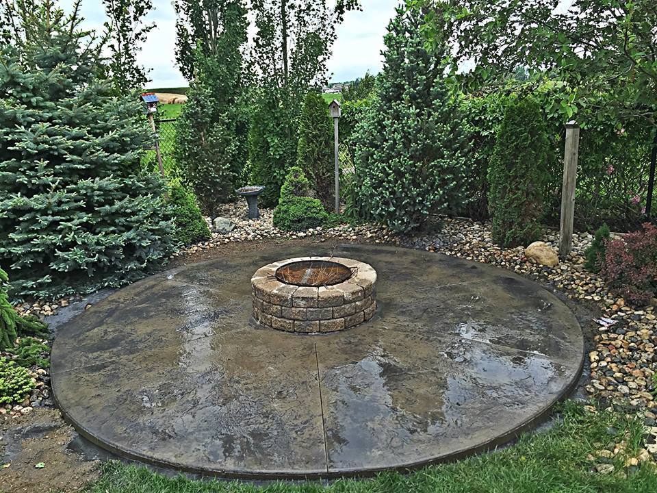 Stamped concrete fire pit patio
