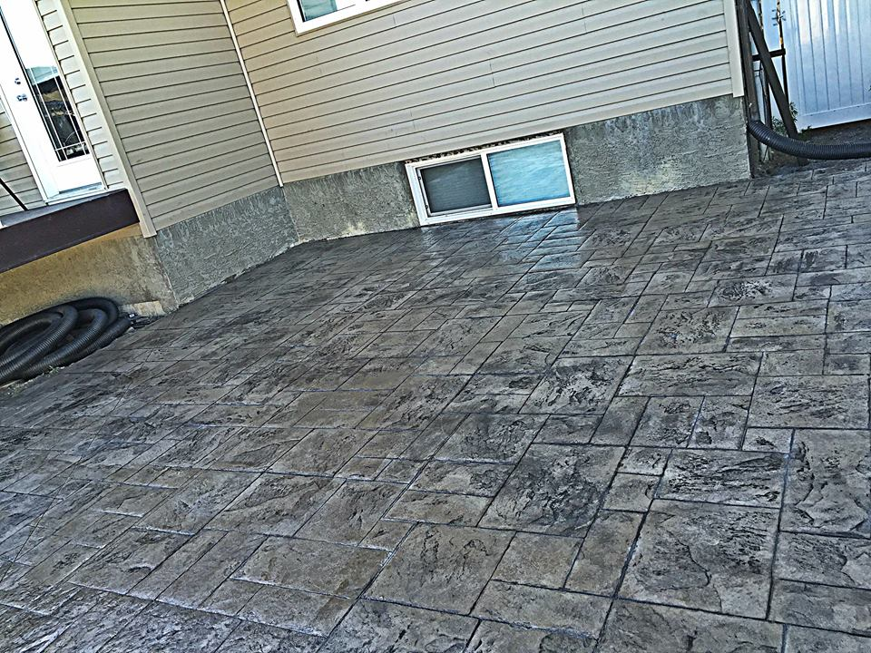 Ashlar slate stamped patio