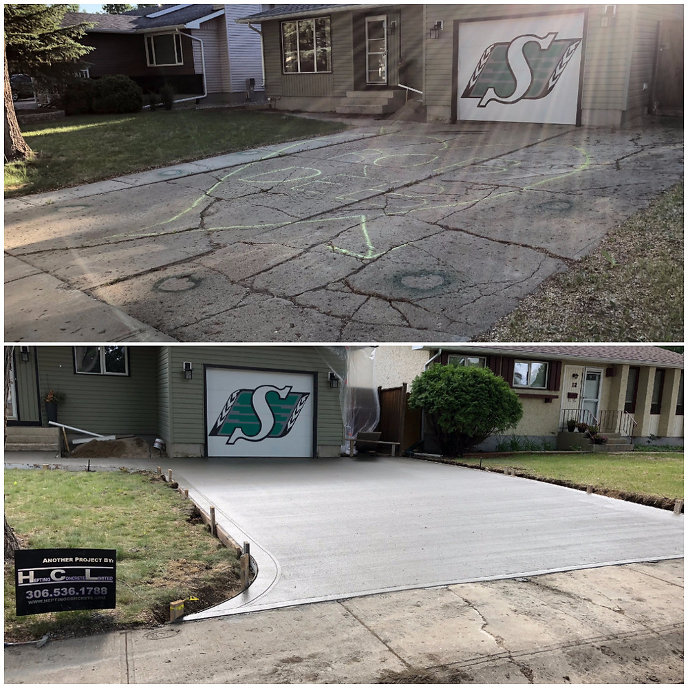 A concrete contractor that has replaced a concrete driveway in  Regina. This concrete driveway has a broom finish, the contractor saw cut in control joints the next day. The contractor also installed a concrete sealer