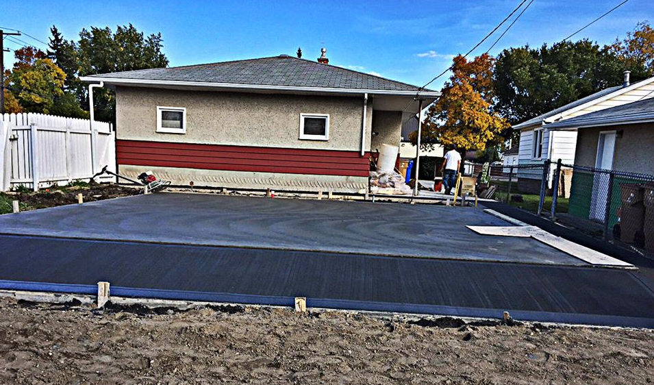 A garage pad installed