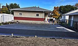 A garage pad installed