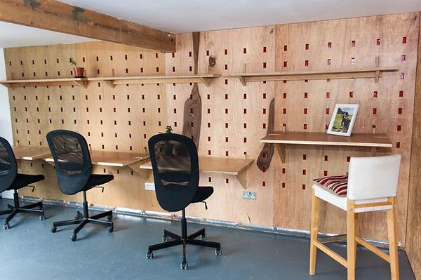 Co-working desks in One Fox Lane's co-working office