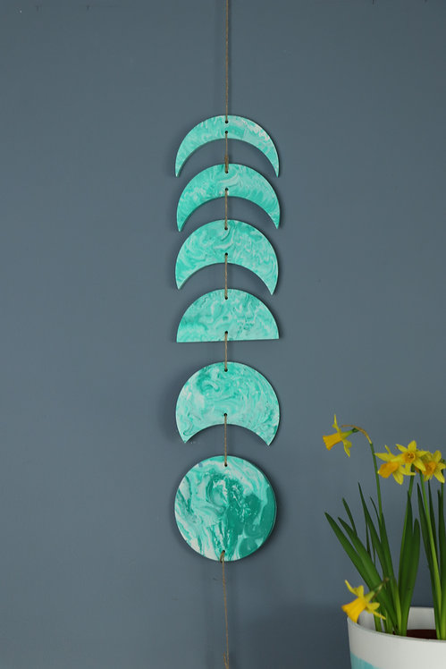 TURQUOISE MOON PHASE WALL HANGING