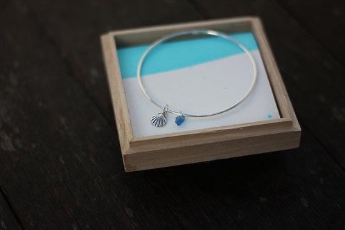 SHELL & MINI BLUE SEA GLASS BANGLE