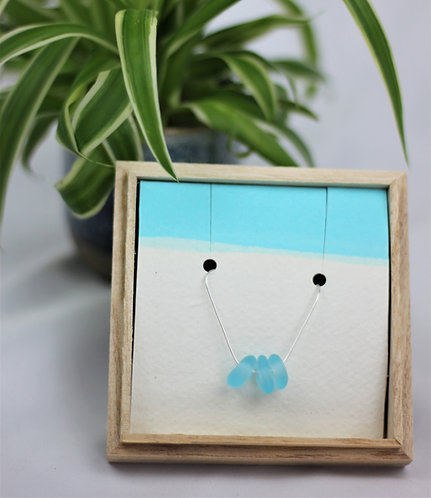 LIGHT BLUE TRIPLE SEA GLASS NECKLACE