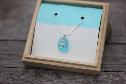 SEA STAR & LIGHT BLUE SEA GLASS NECKLACE
