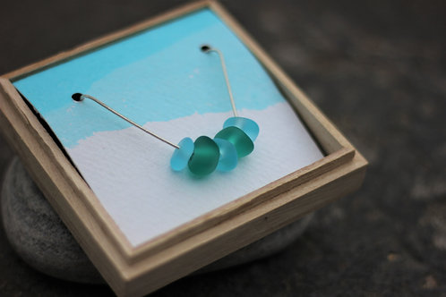 Light Blue & Teal Green Seaglass Combo Necklace