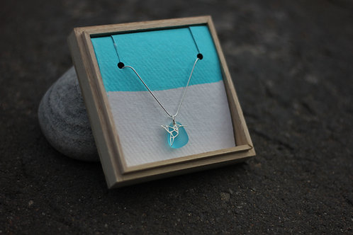 HUMMING BIRD & LIGHT BLUE SEA GLASS NECKLACE