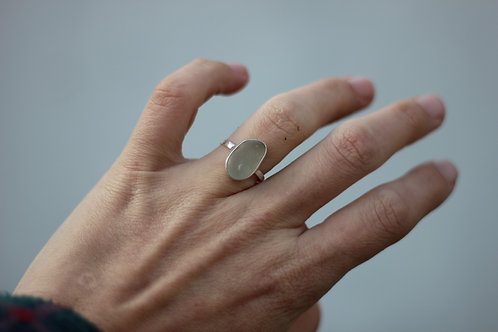 PALE WHITE SEA GLASS RING US SIZE 7