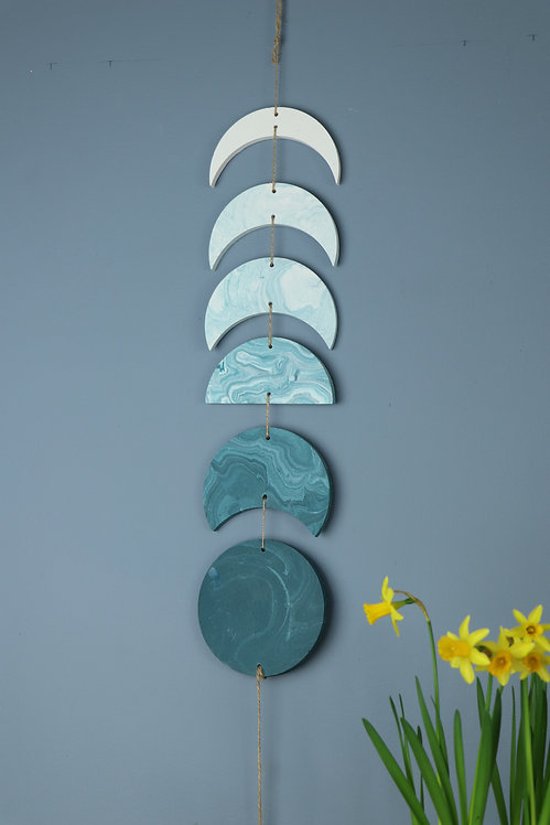 TEAL MOON PHASE WALL HANGING