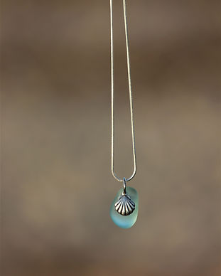 Sea glass necklace, shell necklace