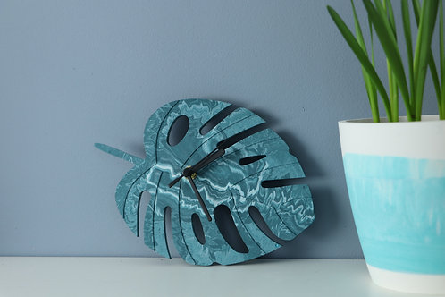 TEAL MONSTERA LEAF CLOCK