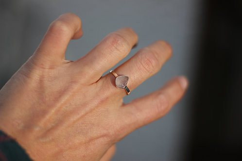 WHITE SEA GLASS RING US SIZE 7.5