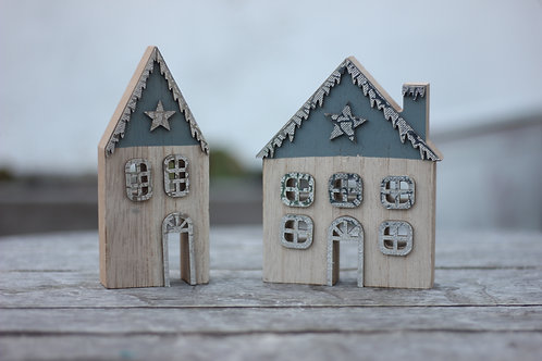 Wooden Christmas House Set