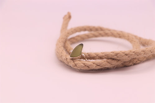 GREEN SEA GLASS RING US SIZE7