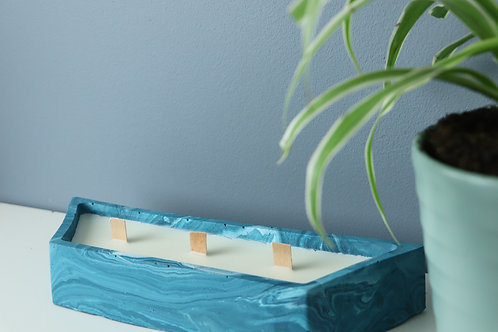 TEAL BLUE SCANDI CANDLE/PLANTER