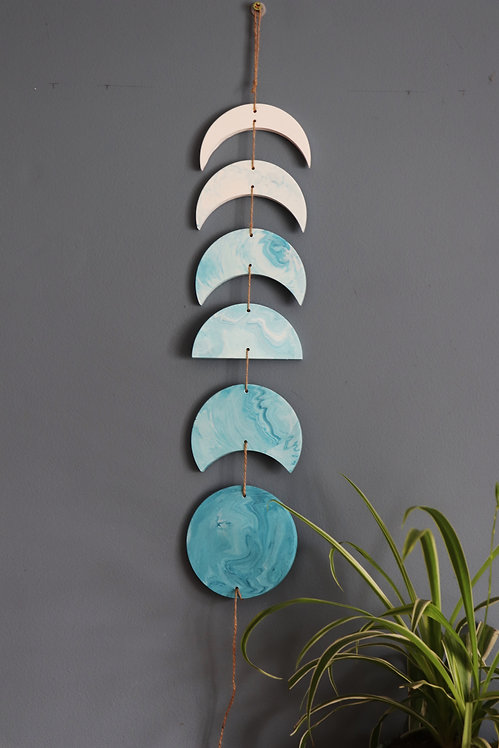 LIGHT TEAL BLUE MOON PHASE HANGING
