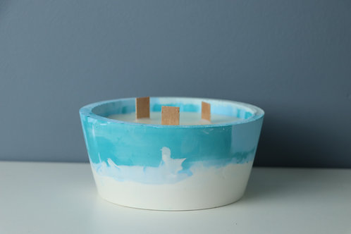 TURQUOISE CANDLE/PLANTER 2