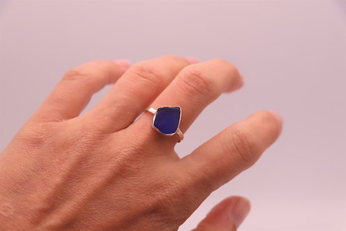 BLUE SEA GLASS RING US SIZE 9