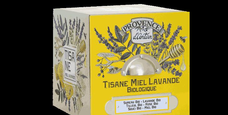 Tisane Miel Lavande Bio - 24 sachets. Boîte métal