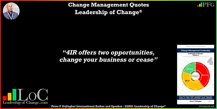 change management quote of the day, change management quotes, change management quote peter f gallagher, 4IR offers two opportunities, change your business or cease, peter f gallagher change management experts speakers global thought leaders, change management expert speaker global thought leader, change management handbook, change management books, change manager book, change quotes, leadership of change,