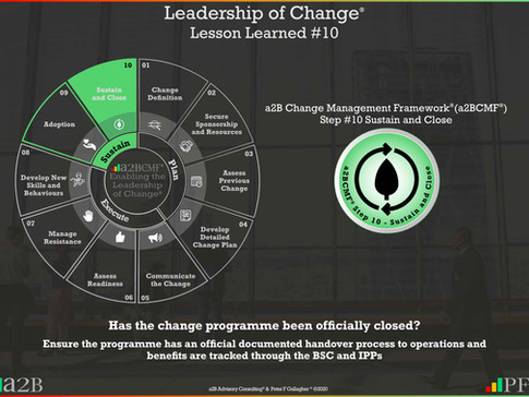 Leadership of Change - #10 Lesson Learned