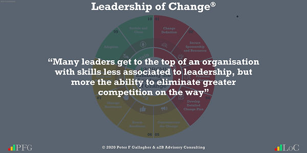 any leaders get to the top of an organisation with skills less associated to leadership, but more the ability to eliminate greater competition on the way
