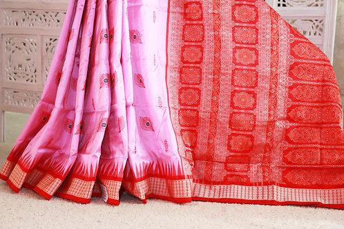 Pink and Red Sambalpiri Bomkai silk with peacock feather bootas