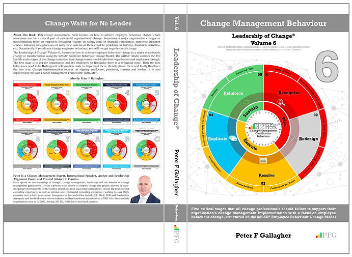 Change Management Behaviour - Leadership of Change® Volume 6, Change Management Book, Peter F Gallagher Change Management Expert, Five critical stages that all change professionals should follow to support their organisation's change management implementation with a focus on employee behaviour change, a2B Change Management Framework,