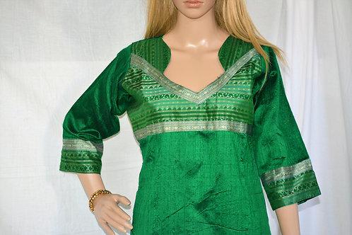 Sambalpuri silk designer Kurti in green